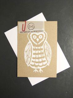 Lino Hand Printed Owl Greeting Card #kraft paper #hand printed #owl #card #cardsandcotton