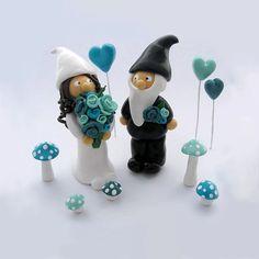 Mini Gnome Bride and Gnome Groom Cake Topper or Plant Decoration Gift