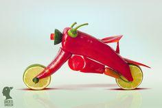 Loopfiets van paprika