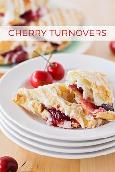 These flaky and sweet cherry turnovers are bursting with fresh cherries and drizzled with a sweet almond glaze. Perfect for breakfast, brunch, or dessert! Cherry Desserts, Cherry Recipes, Easy Desserts, Dessert Recipes, Baking Desserts, Fruit Recipes, Dessert Ideas, Breakfast Recipes, Cherry Turnovers