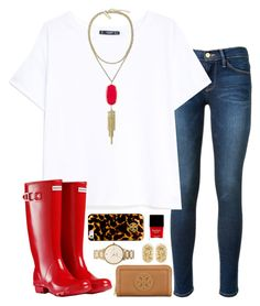 """rain coming in"" by okieprep ❤ liked on Polyvore featuring Frame Denim, MANGO, Hunter, Kendra Scott, Tory Burch, Kate Spade and Butter London"