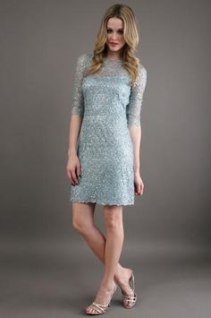 Kay Unger New York Lace Shift Cocktail Dress in Misty Blue