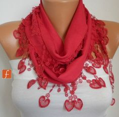 Mother's Day Gifts Red Heart Scarf  -  Pashmina Scarf  -  Cowl Scarf  LOVE  Women Fashion Accessories