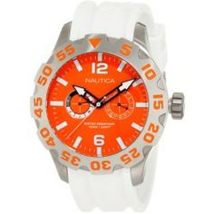 Sales Nautica BFD 100 White And Orange Mens Watch N16618G price - Stainless steel case Resin strap Orange dial Quartz movement Multifunction Day and date Water resistant 100 meters Case...