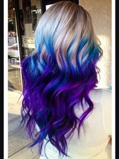 Fabulous Purple and Blue Hair Styles Purple and blue hair hair styles are all the rage, and we wish to experiment with the hair color.Purple and blue hair hair styles are all the rage, and we wish to experiment with the hair color. Ombre Hair Color, Cool Hair Color, Blue Ombre, Galaxy Hair Color, Dyed Hair Ombre, Dye My Hair, Mermaid Hair, Mermaid Style, Gorgeous Hair