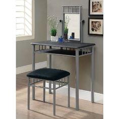 2 Piece Vanity Set Table Stool Swivel Mirror padded Seat Makeup Metal Bedroom  #VanitySet