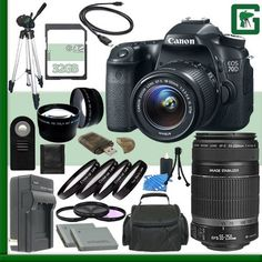 Canon EOS 70D Digital SLR Camera Kit with 18-55mm IS STM Lens and Canon 55-250mm STM Lens   32GB Green's Camera Package 2 >>> See this great product.
