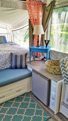 This is my Pop up renovation on a 2003 Coleman Bayside Elite camper #Pimpmypopup #Popuprenovation #rvremodel #Popupredo #popupprincess #Popupideas #campermakeover