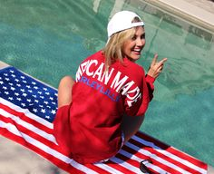 >>'Merica, Peace, & Summer<<  Monogrammed 'Merican Made Spirit Football Jersey from marleylilly.com #merica #summer #peace #love #USA #poolparty