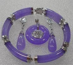 Purple Jade Jewelry Earring Bracelet Pendant Set