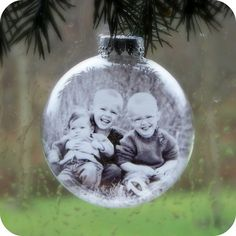 Print your favorite photos on heavy vellum paper and insert into glass ornaments to hang on your tree at Christmas!