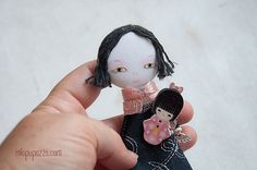 Japanese Girl Art Doll Brooch mixed media collage by miopupazzo