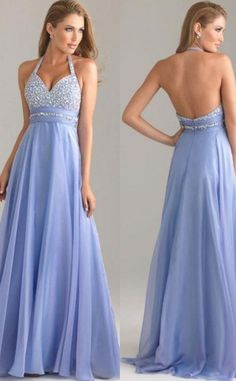 2015 long chiffon blue halter custom prom dress with rhinestone Cheap prom dresses Sale
