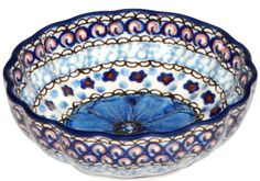 New Polish Pottery Unikat PERFECT SCALLOPED DISH Boleslawiec CA Pattern U408