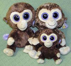 d3a36d9024e Ty Beanie Boo LOT of 3 COCONUT Buddies Plush Stuffed MONKEY Ape Chimp 10
