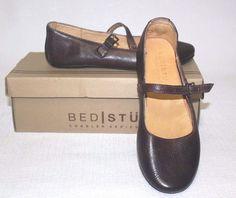 BED STU distressed Women's Shuffle Teak Rustic Mary Jane Leather Flat Size 6.5…