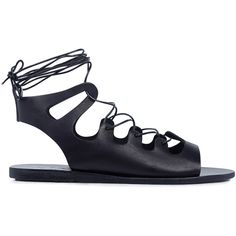 Ancient Greek Sandals - Antigone lace up leather  sandals ($250) ❤ liked on Polyvore featuring shoes, sandals, leather sandals, real leather shoes, leather lace up shoes, lace-up sandals and gladiator sandals