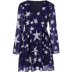 Deep Blue XL Star Print Dress (525 UAH) ❤ liked on Polyvore featuring dresses, star dress, starry dress, long sleeve dress, dark blue long sleeve dress and star pattern dress