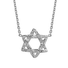 White Gold Star Of David Necklace  Magen David by BinahJewelry, $225.00