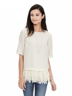 Crepe Fringe Top | Banana Republic want it in white Got stitch fix in white and Black Have This top