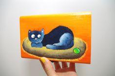 Wood box - Hand painted box - Wooden trinket box - Cat illustration case - Jewelry box - Cat keepsake box - Wooden jewelry box - Cat painting box Orange