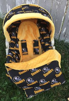 Pittsburgh Steelers Car Seat Cover  5 Piece by SewSweetBabyDesigns Water  Birth b2c3d676a