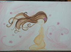 "Pregnancy watercolor painting. ""blossom"". #Art  #birth #pregnancy #life #print"