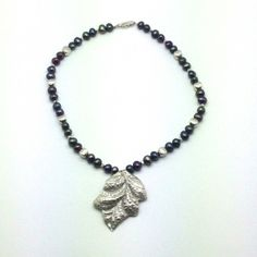 Pure Silver Hand Pounded Leaf, Sterling Silver and Tahitian Pearls