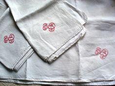 old tea towels monogrammed JE