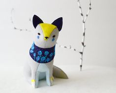 Etsy の blueberry fox megafauna soft sculpture by MountRoyalMint
