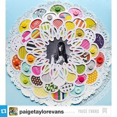 #Repost from @paigetaylorevans --- It's Signature Style week on the @americancrafts blog! I love to use bright colors, tons of patterned papers, punches, my @silhouetteamerica Cameo, watercolors, often quilt-inspired, and lots of repetition. Using the Sunshine Edition Project Life patterned papers by @elsielarson and @emmaredvelvet and the Dhalia Flower Mat doily cut file (Design ID #47089). Featuring a selfie :) #americancrafts #scrapbooking #paigespages #silhouettecameo