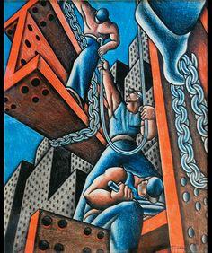 Mexique des Renaissances -Francisco Eppens, Constructeurs vers 1940 Mexico, Museo Nacional de Arte, INBA Donation Rodrigo Eppens, 2004 © INBA/Museo Nacional de Arte