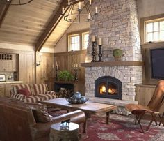stone fireplace. I like the way the mantel wraps all the way around the corners