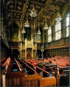 The House of Lords in the Palace of Westminster designed by A.W.N. Pugin, gothic revival.