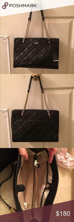Kate Spade Quilted Purse Beautiful authentic Kate Spade Quilted purse. A classic! Can wear on shoulder or carry on arm. Gold chain straps. Purchased from Nordstrom Rack, which they listed as refurbished. Never used. Smoke free home. kate spade Bags Shoulder Bags