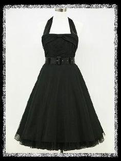 Robe pin up noire retro 46 tunic dress uk size 16/18 rockabilly