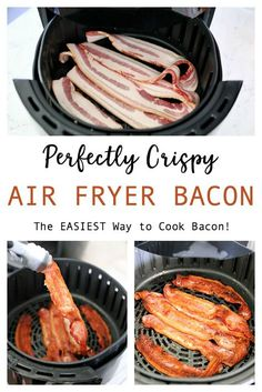 Air Fryer Bacon - Perfectly crispy without the mess This Air Fryer Bacon is the EASIEST way to cook bacon. Perfectly crispy and no mess; no oil splatters on the stove, no ruined baking sheets in the oven! Air Fryer Recipes Snacks, Air Fryer Recipes Vegetarian, Air Fryer Recipes Low Carb, Air Fryer Recipes Breakfast, Air Frier Recipes, Air Fryer Dinner Recipes, Healthy Recipes, Fish Recipes, Keto Recipes