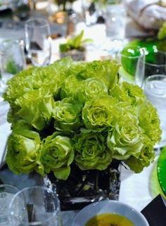 Green wedding flower table decor (bonus: they're budget friendly!)