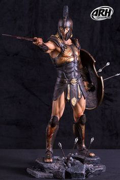 Achilles Immortality Scale Statue by ARH Studios *EX Version* Fantasy Male, Fantasy Warrior, Spartan Tattoo, Ancient Armor, Spartan Warrior, Greek Warrior, Roman Soldiers, Action Poses, Ancient History
