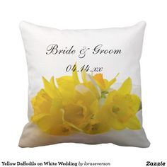 Yellow Daffodils on White Spring Wedding Throw Pillow Narcissus Flower, White Springs, Wedding Pillows, Botanical Wedding, Blossom Flower, Free Sewing, Daffodils, Home Decor Accessories, Custom Pillows