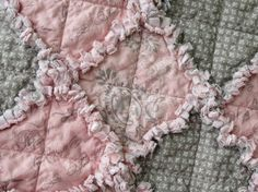 pink & gray baby rag quilt, so pretty