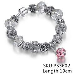 European Authentic Fine BEADS Jewelry Silver Plated Owl Beads Pink/White Crystal Charm Bracelets