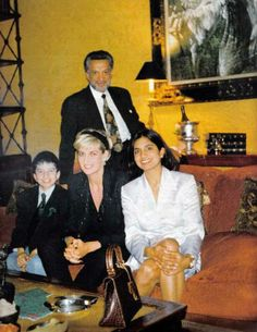 June 5, 1997: Diana, Princess of Wales poses at her friend Gulu's Belgravia mansion in 1997. With her are 58 year old Gulu, his 9 year old son Zoran and 21 year old daughter Divia.