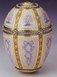 12 Panel Faberge Egg. Current owner is Queen Elizabeth II. Originally made in 1899 for Barbara Kelch-Bazanova