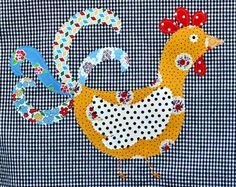 Applique Funky Kitchy Retro Chicken   Black by TallulahSophie, $18.00