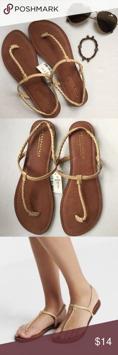 Gold Skinny Braid T-Strap Sandals Absolutely adorable gold braided sandals! Brand new and great with any cute summer outfit or jeans in the fall! Aeropostale Shoes Sandals
