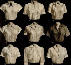 design of blouse characterdesigninspiration Character Design Inspiration Im lousy with blouses. 1940s Fashion, Vintage Fashion, Mode Outfits, Fashion Outfits, Vintage Dresses, Vintage Outfits, Vintage Blouse, Lady Like, Mode Vintage