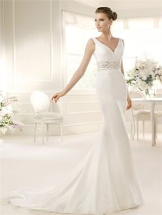 White Mermaid V-neck Beading Organza 2013 Wedding Dresses