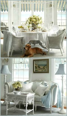 Cottage ● Dining & Living Rooms blue and white stripes