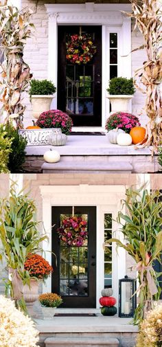 Splendid DIY Fall Outdoor Decorations 25 Splendid Front Door DIY Fall Decorations - Page 2 of 3 - A Piece Of RainbowFall Down Fall Down may refer to: Front Porch Planters, Fall Planters, Fall Front Porches, Autumn Porches, House With Porch, Up House, Diy Door, Porch Decorating, Holiday Decorating